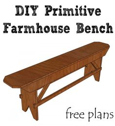 Build a beautiful DIY primitive farmhouse bench for your farmhouse table or extra seating.