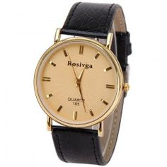 Rosivga Quartz Watch with Rectangles Indicate Leather Watch Band for Men - White