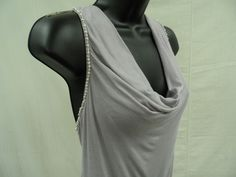 CHARLOTTE RUSSE Size Large STRETCH Top EMBELLISHED Shirt DRAPED Sexy Trendy  NWT…