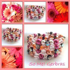 Gerbras! Moderne, mooie zelfgemaakte armbanden, glas parels, glas kralen , Memory wire, http://some-accessoires.nl