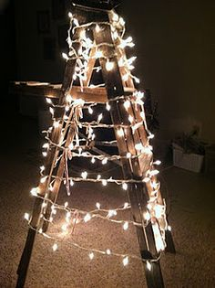 Ladder Christmas Tree Wrapped Ribbon Rope Garland And