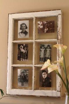 Ventana convertida en marco de fotos.  #ventana #reutilizada #remaxclasico