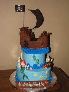 Pirate Ship and Mermaid — Children's Birthday Cakes