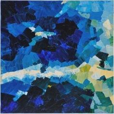 Surya ART1009 40' x 40' Abstract Hand Painting on Canvas, Blue