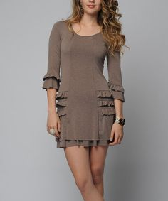 Look what I found on #zulily! Brown Ruffle Three-Quarter Sleeve Dress by Sara Boo #zulilyfinds