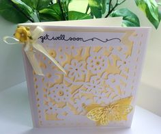 Get well yellow paper cut style card. Handmade with butterfly. by evescrafts on Etsy