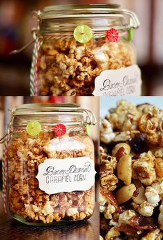 Even plain caramel corn in mason jars . How To Make Bacon-Peanut Caramel Corn. I don't care what the directions say. Make the bacon first, then pop the popcorn in the bacon grease instead of oil! Diy Food Gifts, Gourmet Gifts, Edible Gifts, Food Gifts For Men, Christmas Food Gifts, Christmas Baking, Christmas Gifts, Handmade Christmas, Holiday Gifts