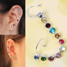 1Pcs Long Clip Earrings For Women Charm Bling Fashion Jewelry On Earrings Crystal Leaf Ear Cuff Clip Ear Stud #61213