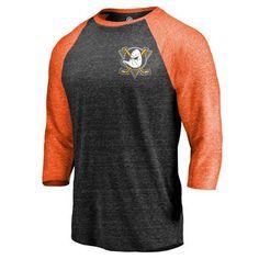 Anaheim Ducks Black/Orange Refresh Shift 3/4-Sleeve Raglan T-Shirt #nhlducks #ducks #anaheim