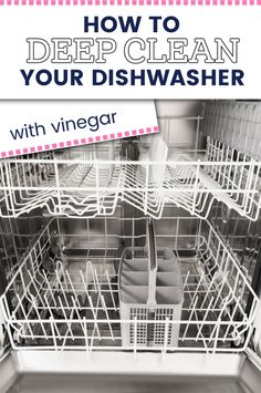 Is your dishwasher smelly or has lots of buildup? Find out how to DIY deep clean your dishwasher with just a couple of ingredients you probably already have around your house (like vinegar). Cleaning Your Dishwasher, Deep Cleaning, Spring Cleaning, Vinegar, Couple, Diy, Bricolage, Do It Yourself, Couples