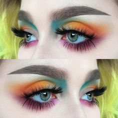 """765 Likes, 27 Comments - @helenesjostedt on Instagram: """"Colours ✨ I used: @nyxcosmeticsnordics ultimate brights eyeshadow palette 