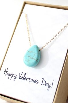Turquoise Teardrop Pendant Necklace - Happy Valentine's Day!