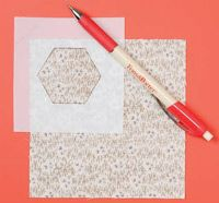 """""""I cut a hexagon out of a square of template plastic to use for a Grandmother's Flower Garden template. It's easier to trace inside the shape than around the outside.""""    Eleanor Beebe  Houston, TX"""