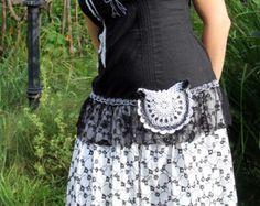 M-L black&white dress tunic romantic fantasy