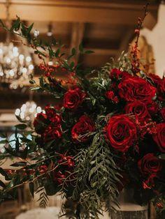 Romantic red roses at wedding venue