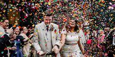Brides Magazine - The 2019 Wedding Trends You Need To Know --> Colourful confetti Wedding Send Off, Wedding Exits, Budget Wedding, Destination Wedding, Wedding Photos, Dream Wedding, Wedding Day, Wedding Planning, Sparkle Wedding