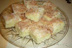 POTŘEBNÉ PŘÍSADY: 1hrnek cukr krystal  2 vejce vanilkový cukr 2 hrnky pol. mouky 1 hrnek mléka prášek do pečiva  Posyp: 1 hrnek kokosu  vanilk.cukr 3/4 hrnku cukru Další: šlehačka  POSTUP PŘÍPRAVY: Cukr, vanilk.
