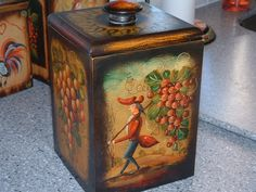 Added December 31, 2016.  A gift from my husband. I have a set of painted canisters similar to this that my friend Wendy helped me with, but John Dunn's artwork is just wonderful.  He was a student of the one and only great Peter Ompir.