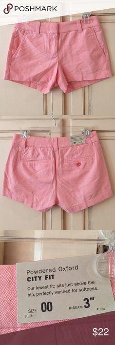 "J Crew powdered Oxford city fit shorts size 00 J Crew powdered Oxford city fit shorts. Size 00. 3"" inseam. NWT. Color is ripe papaya. J. Crew Factory Shorts"