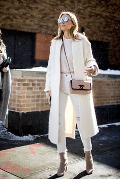 All cream outfit, white jeans, velvet ankle boots, chanel quilted bag, cream coat, Parisian chic