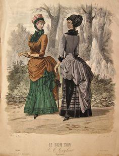 Vintage Hand Coloured Victorian Fashion Print - 1883