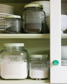 Use Frosted Glass spray paint on clear jars. Place stickers to make words, then peel off after painted.