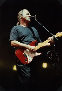 David Gilmour with one of his Red Strats