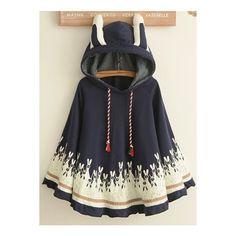 Fashion Cartoon Rabbit Hooded Cloak Coat (€29) ❤ liked on Polyvore featuring outerwear, coats, navy, cloak coat, bunny coat, long sleeve coat and comic book
