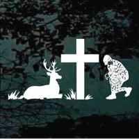 Christian hunter praying at the cross decal design.