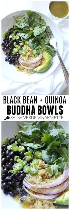 For a quick and easy meal try these Black Bean Quinoa Buddha Bowls with Salsa Verde Vinaigrette. Healthy, simple and easy to customize | ThisSavoryVegan.com