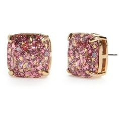 Kate Spade New York Rose Glitter Small Square Stud Earrings ($38) ❤ liked on Polyvore featuring jewelry, earrings, rose glitter, glitter jewelry, rose jewelry, sparkly earrings, kate spade earrings and sparkle jewelry