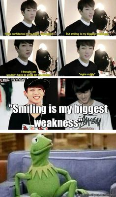 "Jungkook's ""weakness""... Kermit and I find it so sad that people think so little of themselves at times... ""weakness""??"