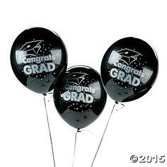 """Black """"Congrats Grad"""" Latex Balloons"""