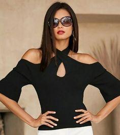 Spring 2017 Women's Black CrissCross Ruffle Sleeve Sweater By Boston Proper. Women's Summer Fashion, Look Fashion, Womens Fashion, Casual Outfits, Cute Outfits, Clothing Patterns, Casual Chic, Fashion Dresses, How To Wear