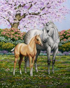 """Horse painting - """"Spring's Gift"""" - Dapple gray mare and palomino foal - by equine and wildlife artist Crista Forest - ForestStudios.com"""