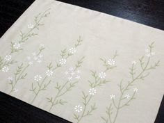 Flower Placemats, Linen Placemats Set of 4, Beige Linen White Pink Flower, Embroidered Fabric Placem