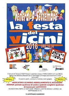 Festa dei vicini 2016 Venerdì 9 settembre in piazza Emilia a Barco