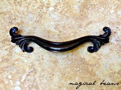 French Provincial Pull in Dark Brass by Keeler Brass Co / Authentic Vintage Hardware, Decorative Furniture Handle, Drawer pulls by MagicalBeansHome on Etsy