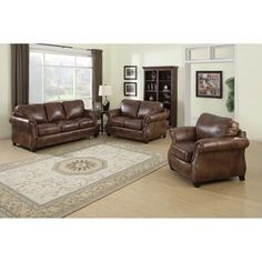 Cognac Leather Chaise