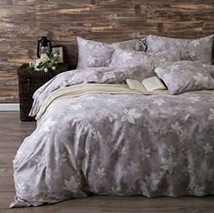 UFO Home 3pc 100 Cotton Sateen Duvet Cover Set Button Close Printing Maple Leave 350 Thread Count Advanced Bedding Set Mild Color Full Queen Size Queen Maggiore L * Check this awesome product by going to the link at the image.