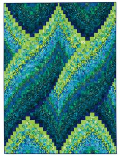 Bargello quilt - could be all blue, blue and white, or could add one or two colours that you might want to add as an accent in other decor items Quilt Inspiration: Twist-and-turn Bargellos: Cosmic Twist, 60 x by Eileen Wright as seen at Martingale & Co Motifs Bargello, Broderie Bargello, Bargello Quilt Patterns, Bargello Quilts, Quilt Patterns Free, Strip Quilts, Quilt Blocks, Quilting Projects, Quilting Designs