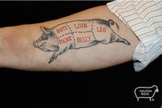 Good tattoo for a butcher or a chef :-) Food Tattoos, Pig Tattoos, Tatoos, Cooking Tattoo, Grilling Art, Culinary Tattoos, Chef Tattoo, Guitar Tattoo, Desenho Tattoo