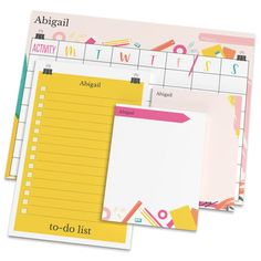 Fun Activity Planner Notepad Set