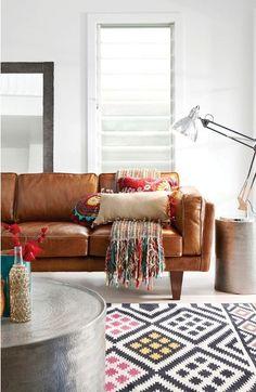white walls, coloured rug