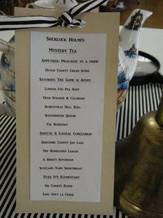 Sherlock Holmes Tea menu- ALRIGHT NOW IM GOING TO HAVE TO HAVE A SHERLOCK THEMED TEA PARTY WHO'S WITH ME