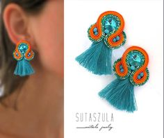 Excited to share the latest addition to my #etsy shop: Orange clip on Earrings Trendy Colorful Soutache Earrings Handmade from Poland Embroidered Soutache Jewelry turquoise tassel earrings https://etsy.me/2KMZsKb #tealorange #soutache #orangeearrings #valentinesday