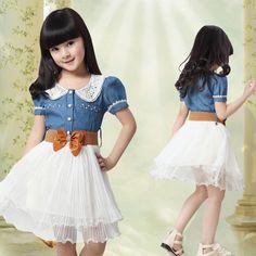 2013 New arrival summer Girl's denim dress little girl vintage princess dress free shipping $21.50