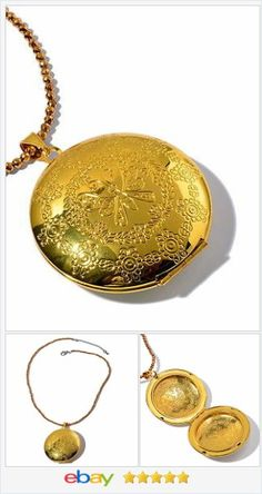 "Large Locket Necklace and chain Gold tone 18"" long USA SELLER  