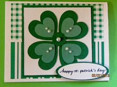 Handmade Handcrafted Green Four Leaf Clover Pearl Accent St. Patrick's Day Card. $3.33, via Etsy.