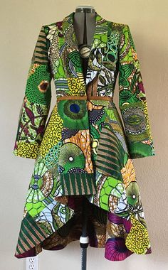 Emerald African Patchwork Reversible Coat Dress With Pockets and Tie Belt Pick Available Reverse Print (reverse print shown not available) African Fashion Ankara, Latest African Fashion Dresses, African Print Dresses, African Print Fashion, African Dress, African Fabric, African Attire, African Wear, Mode Batik